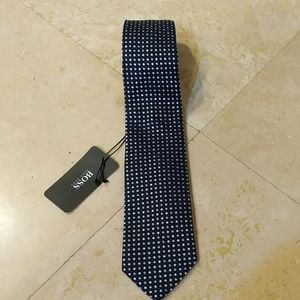Hugo Boss Tie Black with bluish-greyish pattern